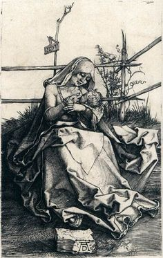 Albrecht Düre. Virgin and Child on a Grassy Bench (1503). Engraving, 115 x 71 mm. Metropolitan Museum of Art, New York