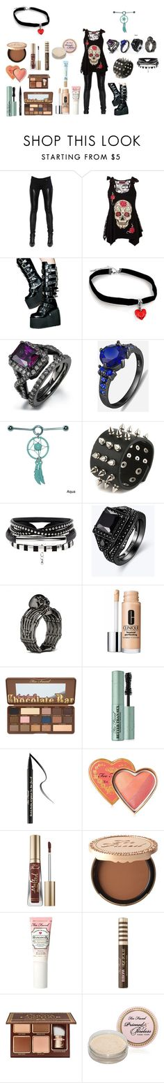 """""""Emo outfit #107"""" by in-seva on Polyvore featuring Givenchy, Demonia, Clinique and Too Faced Cosmetics"""