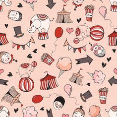 Vintage circus fabric by laura_the_drawer on Spoonflower - custom fabric