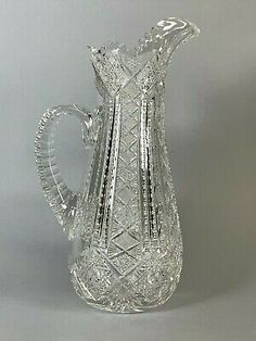 Outstanding J Hoare Corning ABP American Brilliant Cut Glass Pitcher
