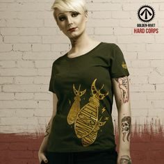 Hard Corps 'Love the Bombshell' t-shirt - hand printed. JOIN THE FIGHT!