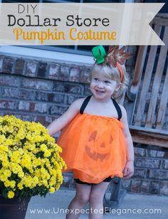 Dollar Store Pumpkin Halloween Costume...SO EASY to make!!