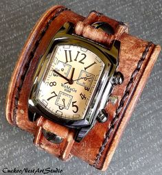 Watch Cuff Leather Wrist Watch Distressed by CuckooNestArtStudio, $119.00