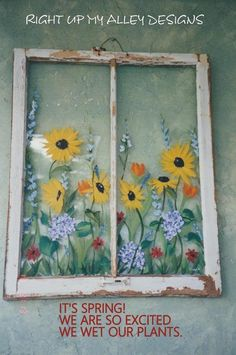 Painted window ideas from custom orders Window pane art ideas Vintage painted window Window wall art Unique glass art Repurposed window