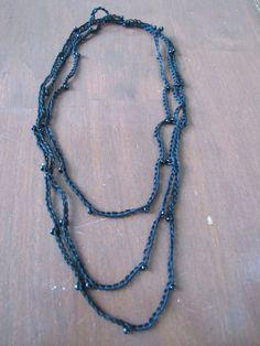 "62"" black bead and crochet infinity necklace. $10.00, via Etsy."