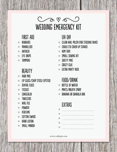 free printable wedding emergency kit list free printable wedding free printable and planners minute wedding checklist Wedding Planning Tips, Wedding Tips, Wedding Blog, Wedding Timeline, Hotel Wedding, Wedding Hacks, Wedding Party List, Wedding Checklist Timeline, Wedding Checklist Printable