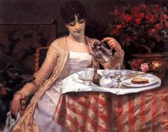 James Carroll Beckwith ~ A Model's Breakfast ~ (American: 1852-1917)