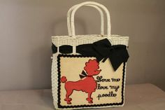 Vintage Poodle Purse 1950s White Wicker Handbag by ladyscarletts