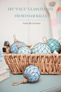 """DIY Nautical """"Faux"""" Glass Floats from Foam Balls - Shatter-proof """"glass"""" buoys that are easy to make! Beach Christmas Ornaments, Coastal Christmas Decor, Nautical Christmas, Christmas Crafts, Christmas Decorations, Coastal Decor, Aqua Christmas, Christmas Tables, Snowman Ornaments"""