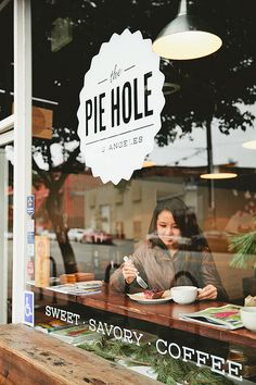 I've always wanted a pie shop named The Pie Hole. The Pie Hole, Los Angeles. Cafe Branding, Restaurant Branding, Restaurant Bar, Restaurant Design, Branding Design, Cafe Design, Store Design, Web Design, Logo Rond