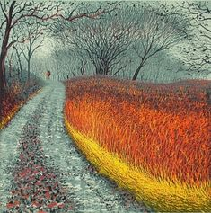 """Mark A Pearce, Lake District,England; """"Following Mum and Dad"""", Reduction Linocut, 40cm x 40cm, edition of 36"""
