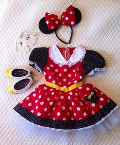 DIY Minnie Mouse Costume DONE!  Ears are made out of felt, yellow duck tape on shoes and hand sewn all the ribbon and lace!    (By Cass Knuckles) Butterick B4320
