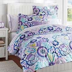 This would be beautiful on a white or black bed!  Flower Burst Duvet Cover + Sham #pbteen
