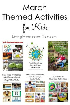 A month's worth of calendar observances and March themed activities for kids, including many Montessori-inspired activities for classroom or home - Living Montessori Now #Montessori #homeschool #preschool #March #calendar #holidays #Marchholidays