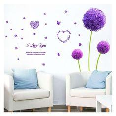 2pcs Purple dandelion wallpaper Wall sticker derlook applique room... ❤ liked on Polyvore