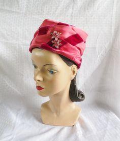 Clearance 1960's Vintage Pink & Fuchsia Turban by MyVintageHatShop