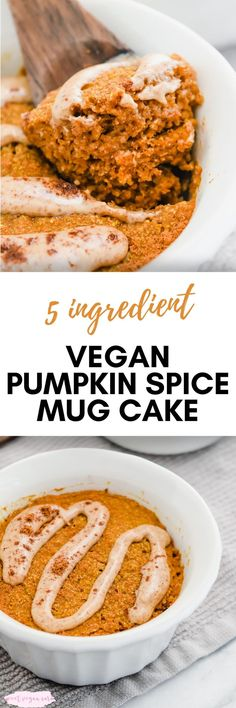 This vegan pumpkin spice mug cake is the perfect quick and easy treat, just for you! It's made with just 5 healthy ingredients and naturally sweet. #veganpumpkinspicemugcake #mugcake #pumpkinspicemugcake #veganmugcake #vegandessert #easyvegandessert #healthyvegandessert