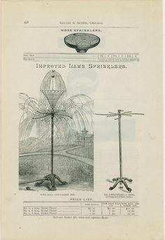 "Catalog Page Ad ""Improved"" Lawn Sprinklers Ball & Basket Jet Water Hose 1885 Lawn And Garden, Garden Tools, Seneca Falls, Garden Sprinklers, Water Hose, Old Antiques, Art Work, Jet, Vintage World Maps"