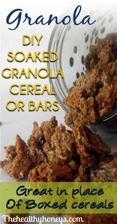 Soaked Granola Cereal or bars Recipe Tutorial -milk -whole rolled oats cups chopped nuts - 1 cup sunflowre seeds cup shredded coconut -- Added pumpkin & flax seeds, & dehydrated. Healthy Cereal, Healthy Snacks, Healthy Eating, Healthy Recipes, Paleo Cereal, Quinoa Cereal, Trix Cereal, Baby Cereal, Cereal Recipes