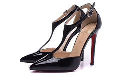 Christian Louboutin 12CM Black T-Strappy pointed Sandals