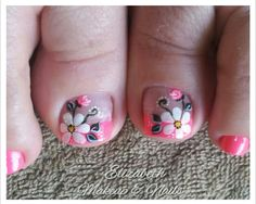 Diseños  para pies Cute Pedicure Designs, Toe Nail Designs, Pedicure Nail Art, Toe Nail Art, Summer Toe Designs, Painted Toe Nails, Cute Pedicures, Cute Toe Nails, Feet Nails