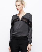 Dotted Crepe Placed Lace Blouse - Ace of lace: this uptown button-down gets a downtown edge from perfectly-placed sheer lace. Split neck. Long sleeves with snap closure. Hidden button front. Shirttail hem.