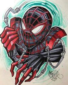 Miles Morales (at Memento Tattoo & Gallery) Marvel Comics Superheroes, Marvel Art, Marvel Characters, Marvel Heroes, Marvel Drawings, Cartoon Drawings, Art Drawings, Spiderman Tattoo, Comic Tattoo