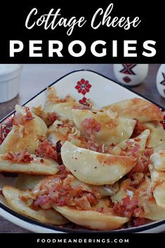 This Cottage Cheese and Potato Perogies recipe is from the master perogy maker, Grandma Mary Rudy! Made with dry cottage cheese, potatoes and a simple perogy dough, boiled, fried in butter and smothered with onions, bacon and sour cream, these homemade, traditional perogies are both delicious and authentic. Potato And Cheese Perogies Recipe, Cheese Potatoes, Ukrainian Recipes, Healthy Dessert Recipes, Appetizer Recipes, Appetizers, Dry Cottage Cheese, Italia, Lasagna