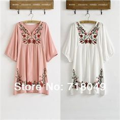 New 2014 Spring Summer Vintage 70s Mexican Ethnic Floral EMBROIDERED Hippie Blouse DRESS Women Clothing Vestidos S M L Plus Size
