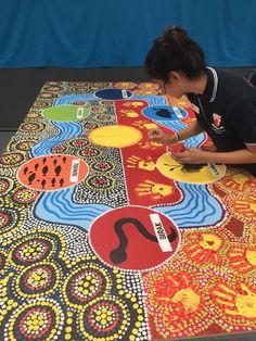 Noongar six season mural - My Art Room Life Aboriginal Art Animals, Aboriginal Art For Kids, Aboriginal Symbols, Aboriginal Dreamtime, Aboriginal Education, Aboriginal Dot Painting, Indigenous Education, Aboriginal History, Aboriginal Culture