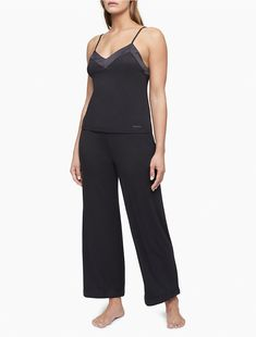 Crafted from ultra-soft modal with a luxurious feel. These sleep pants are designed with an elasticated waistband, straight legs and silky satin trim. Sleep Pants, Best Sellers, Calvin Klein, Jumpsuit, Legs, Long Sleeve, Black, Lounge, Dresses