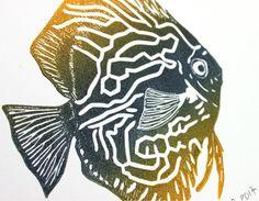 Le poisson Discus linogravure originale signée et numérotée