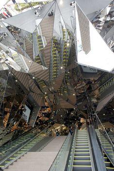 "Tokyu Plaza Omotesando Harajuku by Hiroshi Nakamura- ""The entrance is an impressive seizure-inducing kaleidoscope of mirrors that's akin to something out of Stargate."""