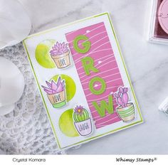*NEW Sweet Succulents Clear Stamps | Whimsy Stamps Whimsy Stamps, Friendship Cards, Cacti And Succulents, Stamp Collecting, Clear Stamps, Cactus, Bloom, Trees, Crystals