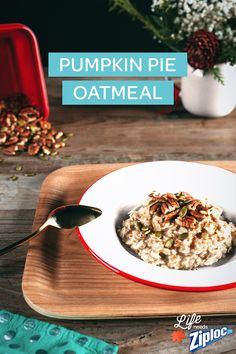 Pumpkin Pie Oatmeal?! Yes, please! Cinnamon, nutmeg, ginger, cloves, pecans, and pumpkin seeds – talk about healthy comfort food! Love this for weekday mornings, breakfast for the kids, or for when guests are in town. Store in individual Ziploc® containers for healthy breakfast all week.