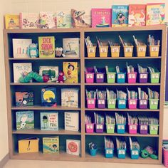 Classroom Library Blooming in First Grade Library Organization, Classroom Organisation, Classroom Management, Classroom Libraries, First Grade Organization, Organizing Books, Storage Organization, First Grade Classroom, Preschool Classroom