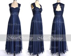 Navy Bridesmaid Dresses Long Party Dresses Straps by MissDressesy, $139.00