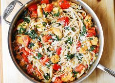 Shrimp, tomato, and spinach pasta in garlic butter sauce.  Another easy to prepare dish for the holiday.