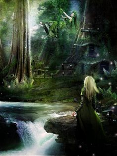 Where Elven Folk Play by InertiaK on deviantART Magical Forest, Forest Fairy, Enchanted Fairies, Fairy Art, Faeries, Elves, Fantasy Art, Waterfall, Folk