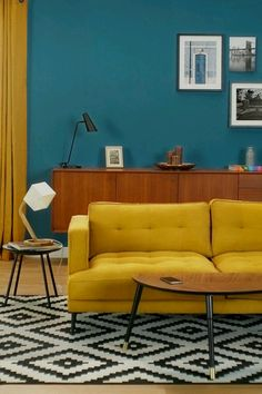 Interior Paint Colors For Living Room, Living Room Color Schemes, Living Room Colors, Living Room Designs, Color Interior, Retro Living Rooms, Home Living Room, Living Room Decor Inspiration, Style Deco