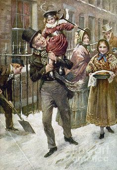 DICKENS: A CHRISTMAS CAROL. Bob Cratchit and Tiny Tim. Illustration by Harold Cropping from a 1920 edition of Charles Dickens' 'A Christmas Carol.' Granger