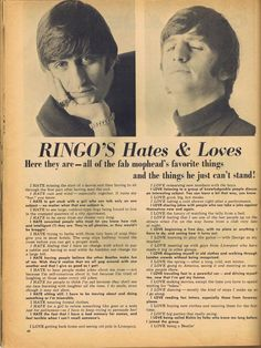 I love how he mentions George specifically in his list of loves 😊 like out of any of the 3 Beatles coz they can all play guitar he chooses George 😊 xxx Beatles Funny, Beatles Love, Les Beatles, Beatles Bible, Beatles Party, Liverpool, Great Bands, Cool Bands, Richard Starkey