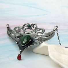 Testament - Tsavorite grossular, Emerald and Pyrope Tiffany Soldered Pendant by AtelierQ, $44.00