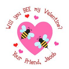 BEE my Valentine Personalized Stickers Valentines by maxandbella, $5.95
