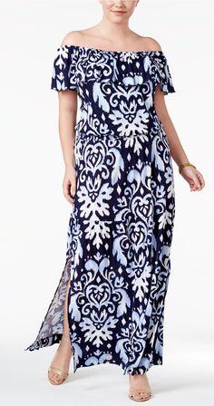 Plus Size Off-The-Shoulder Maxi Dress