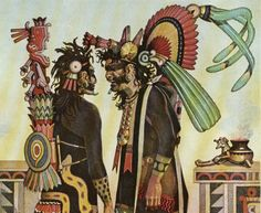 The Aztec priest were called 'tlamacazui'  the 'Giver'. The priests main role was to give the deity's their appropriate offerings by leading sacrifices and rituals in their honor.  Due to the importance of religion in the Aztec civilization, priests were regarded and respected like that of nobility and considered part of that society.  Priest(s) were required to live an exemplary lives, and were responsible for fasting and paying penance.   * Aztec priests.