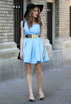 Baby+Blue+Dress+and+Black+Hat+Outfit+Idea