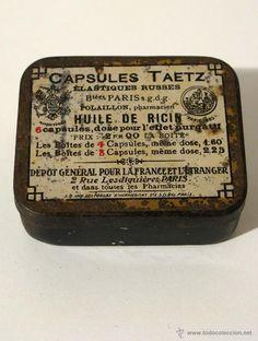 Antigua caja de hojalata TABLETAS TAETZ. Medicamento, pastillas, medicina.