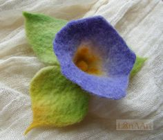 Ipomoea - Morning glory - impressive purple felted flower with 3 light green leaves brooch pin and hair clip of lilac, yellow & grass green by LanAArt