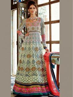 Light Gray Embroidery Anarkali Salwar Kameez Suit  #Anarkali #AnarkaliSuit #AnarkaliSalwarkameez #EmbroideredSuit #SalwarKameez #EthnicShalwar #Ethnicwear #PakistaniDress #Stitchedsuit #Unstitchedsuit #Indianethnicwear #Punjabisuit